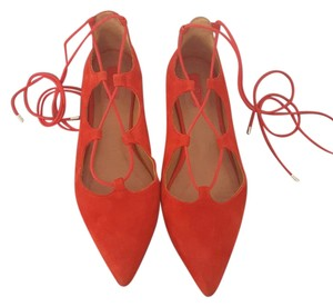 Topshop Pointed Toe Lace Up Red Flats