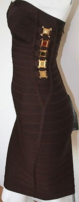 Hervé Leger Mahogany Gold Cocktail Bandage Strapless Dress