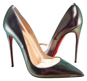 Christian Louboutin SO KATE 120 Disco Iridescent Tissu Heels Pumps Shoes $695 Metallic Violet Pumps