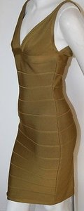 Hervé Leger Ochre Bandage Cocktail V Neckline Dress