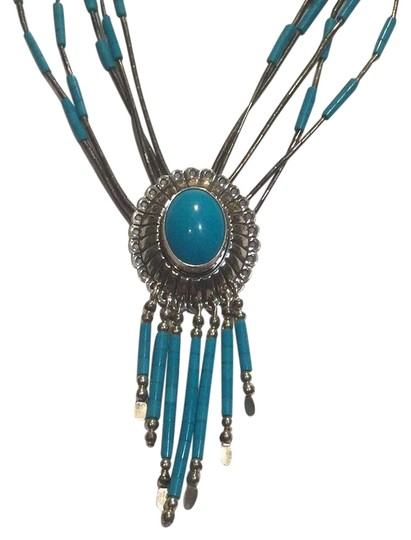 Native american sterling silver and turquoise necklace Image 0
