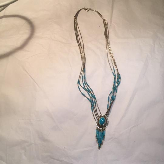 Native american sterling silver and turquoise necklace Image 5