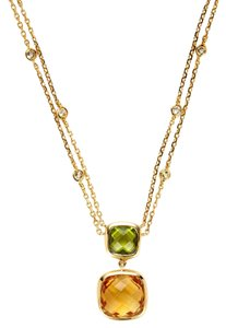 Hammerman Estate 18k Yellow Gold, Citrine & Peridot Pendant Necklace