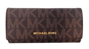 Michael Kors Travel Carryall Wallet Clutch Fits Checkbook Phone NWT Brown