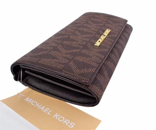 Michael Kors Travel Carryall Wallet Clutch Fits Checkbook Phone NWT Brown Image 1