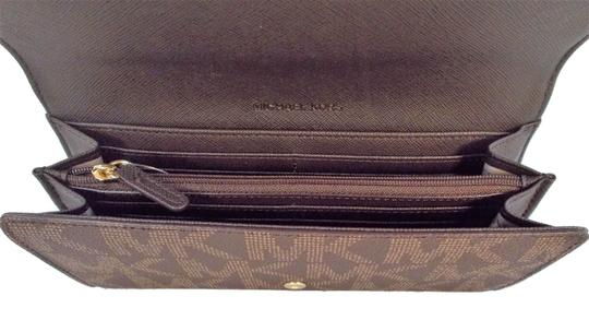 Michael Kors Travel Carryall Wallet Clutch Fits Checkbook Phone NWT Brown Image 2