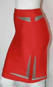 Herv Leger Gray Coral Poppy Runway Stretch Skirt Oranges
