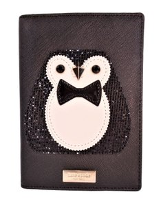 Kate Spade Imogene Clifton Ln Penguin Holiday Passport Case Wallet NWT Black