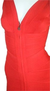 Hervé Leger Poppy Red Stretch Bandage Pasha Dress