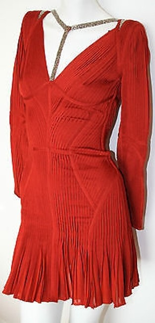 Hervé Leger Rustic Long Sleeve Pleated Evelyn Cocktail Dress