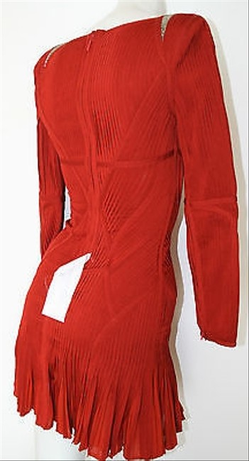 Hervé Leger Rustic Long Sleeve Pleated Evelyn Cocktail Dress Image 10