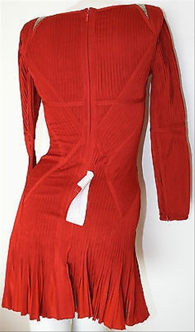 Hervé Leger Rustic Long Sleeve Pleated Evelyn Cocktail Dress Image 2