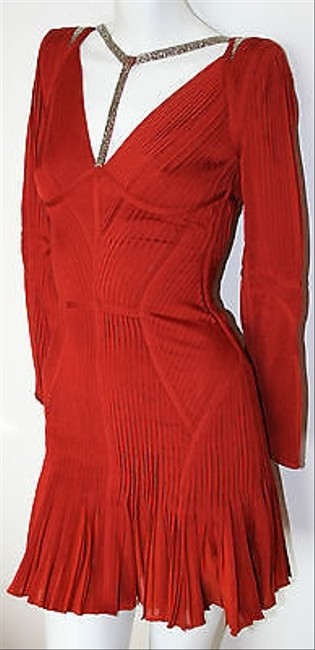 Hervé Leger Rustic Long Sleeve Pleated Evelyn Cocktail Dress Image 8
