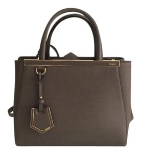 Fendi Leather Handbag Tote Satchel in Taupe