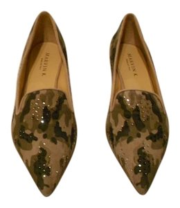 Aquatalia by Marvin K. Crystal Accents Chic Design Camouflage Flats
