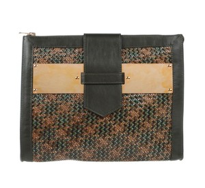 Sophie Hulme Woven Leather Earth-tone Camo Army Camel Green, Khaki, tan,burgundy Clutch