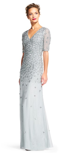 Item - Blue Mist Sequin Sheer Sleeves Formal Bridesmaid/Mob Dress Size 2 (XS)