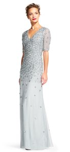 Adrianna Papell Blue Mist Floral Sequin Dress With Sheer Sleeves Dress