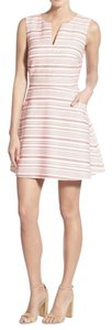 cupcakes and cashmere Jacquard Split Neck Fit Flare Sleeveless Dress