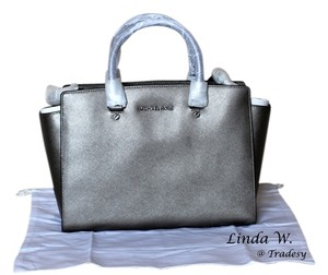 MICHAEL Michael Kors Leather Silver Hardware Satchel in Nickel (Silver Grey)