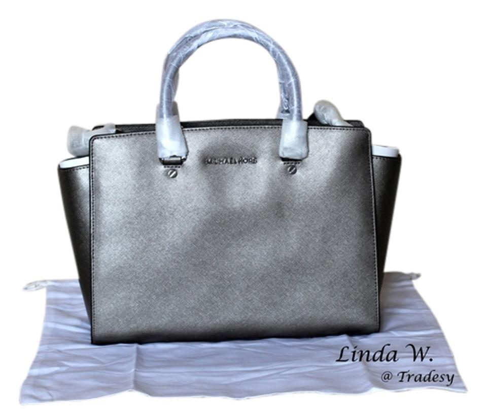 Michael Kors Leather Hardware Metallic Removable Strap Chic Versatile Structured Classic Functional Satchel In Nickel
