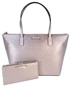 Kate Spade Haven Hani Holiday Wallet Tote in Silver