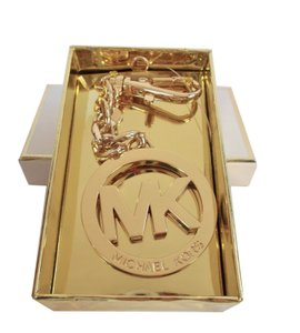Michael Kors MK Logo Pendant Key Chain Ring Hang Tag NWT in Gift Box Gold