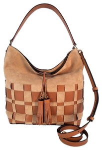 Michael Kors Vivian Woven Hobo Tote in Shell Acorn