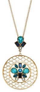 Swarovski Gold-Tone Cyan Pendant & Necklace