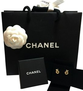 Chanel Cute 2014 CHANEL gold medallion earrings with bow BOX POUCH BAG