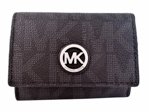 Michael Kors Fulton MK Signature Logo Snap Card Case Wallet Purse NWT Black