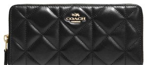 Coach Quilted Black Leather ACCORDION ZIP WALLET CLUTCH PURSE SERIAL # 55672