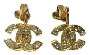 Chanel Chanel Vintage Gold CC Logo Earrings with Crystals Rhinestones