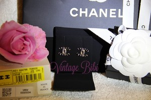 Chanel New CHANEL 2016 Gold Earrings Black Grey Crystals Box Pouch Ribbon Bag