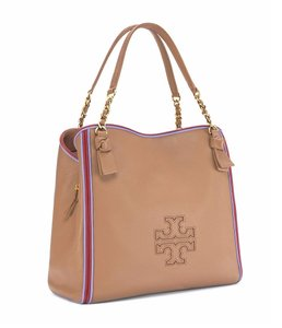 Tory Burch Leather Tote in Vintage Camel/Redwood/Bow Blue