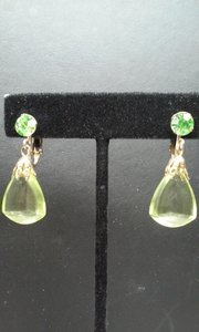 Apple Green , Gold Accent Dangle Earring