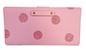 Kate Spade Haven Pink Sparkle Polka Dot Stacy Slim Wallet Clutch NWT Holiday