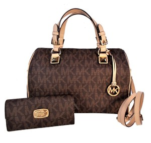 Michael Kors Grayson Purse Wallet Satchel in Brown / Tan