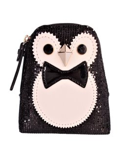 Kate Spade Holiday Penguin Sparkle Coin Purse Wallet Pouch NWT Black White