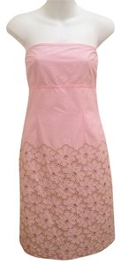 Cynthia Steffe Empire Waist Embroidered Strapless Sheath Cut-out Dress