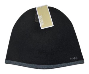 Michael Kors NWT MICHAEL KORS BLACK GREY HAT BEANIE ONE SIZE REVERSIBLE