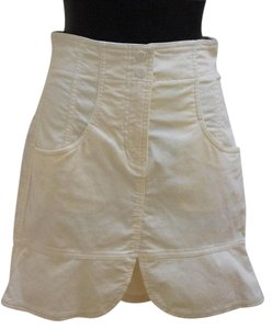 A|X Armani Exchange Corduroy Tulip Pockets Mini Mini Skirt Ivory