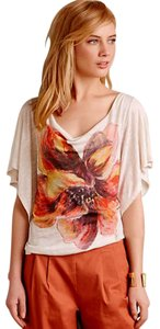 Anthropologie Floral Drapey Top Orange Motif