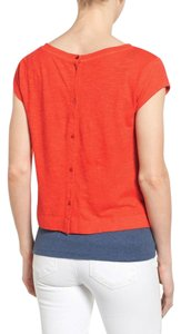 Eileen Fisher Button Back Ballet Neck Top NWT Orange