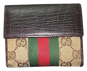 Gucci French Flap Leather/Canvas Wallet w Snap Closure