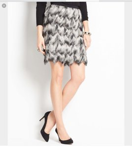 Ann Taylor Holiday Mini Ombre Mini Skirt Black and white