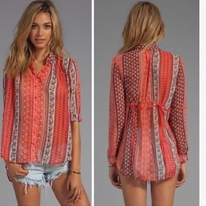Free People Top COral/White