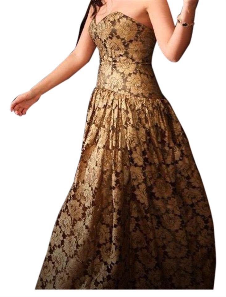 Theia Black Gold And Gown Custom Made Long Formal Dress Size 4
