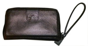 Coach Bronze Wallet Logo Wristlet in bronze leather