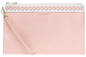 Michael Kors Leather Leather And White Wristlet in Pink
